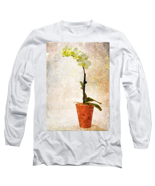 Yellow Orchid Long Sleeve T-Shirt by Patti Deters