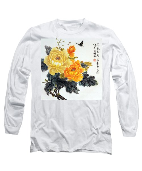 Long Sleeve T-Shirt featuring the photograph Yellow Peonies by Yufeng Wang