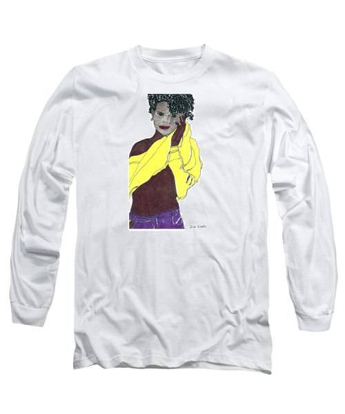 Long Sleeve T-Shirt featuring the drawing Yellow Sweater Model by Don Koester