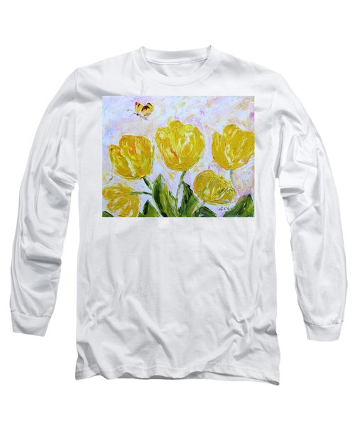 Yellow Tulips And Butterfly Long Sleeve T-Shirt