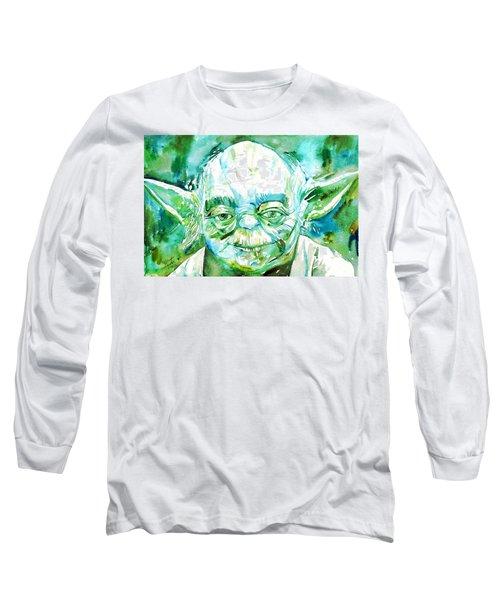 Yoda Watercolor Portrait Long Sleeve T-Shirt by Fabrizio Cassetta