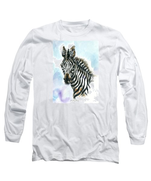 Zebra 1 Long Sleeve T-Shirt by Mary Armstrong