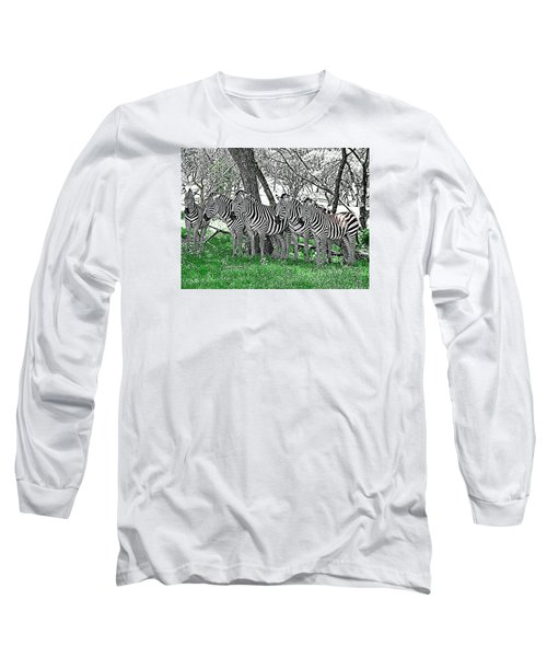 Long Sleeve T-Shirt featuring the photograph Zebras by Kathy Churchman