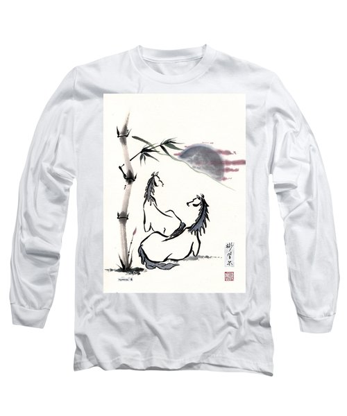 Long Sleeve T-Shirt featuring the painting Zen Horses Evolution Of Consciousness by Bill Searle