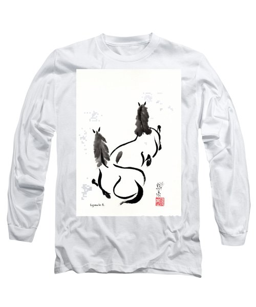 Long Sleeve T-Shirt featuring the painting Zen Horses Retired by Bill Searle