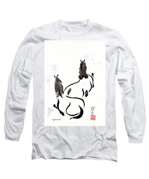 Zen Horses Retired Long Sleeve T-Shirt by Bill Searle