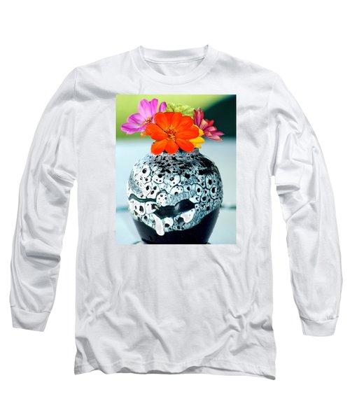 Zinnia In Vase Long Sleeve T-Shirt by Lehua Pekelo-Stearns