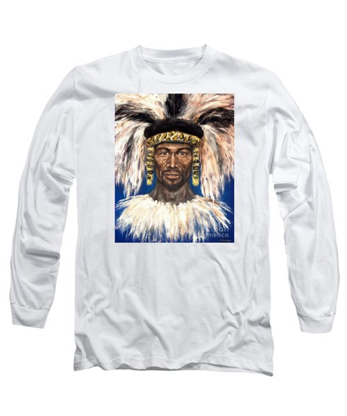 Long Sleeve T-Shirt featuring the painting Zulu Warrior by Arturas Slapsys