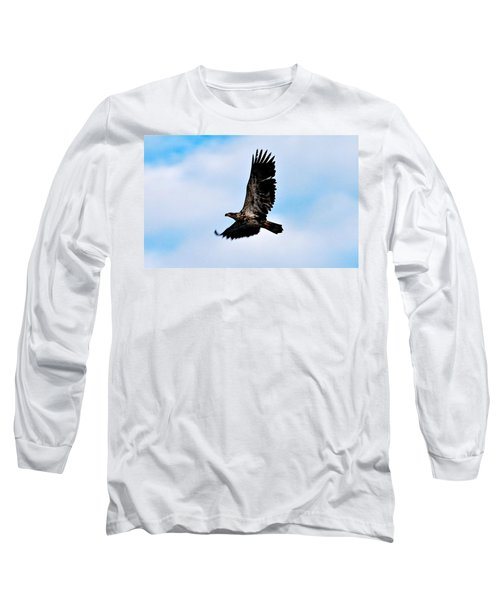 Long Sleeve T-Shirt featuring the photograph  Juvenile Bald Eagle by Peggy Franz