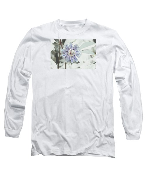 Passion Flower On White Long Sleeve T-Shirt