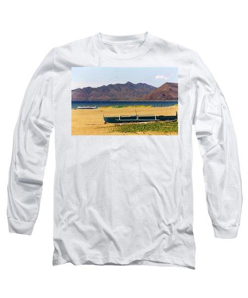 Boats On South China Sea Beach Long Sleeve T-Shirt by Amelia Racca