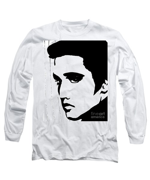 Elvis In Black And White Long Sleeve T-Shirt