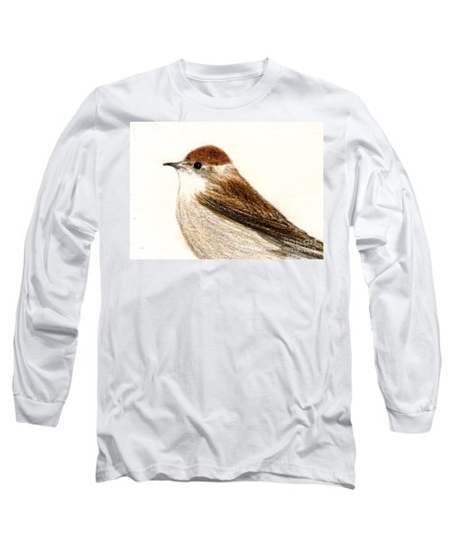 Long Sleeve T-Shirt featuring the drawing Female Blackcap  by Barbara Moignard