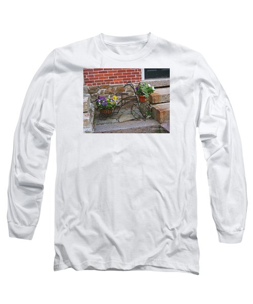 Long Sleeve T-Shirt featuring the photograph Flower Bicycle Basket by Val Miller