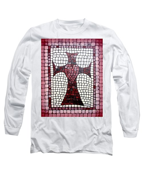 Long Sleeve T-Shirt featuring the painting Heart Cross by Cynthia Amaral