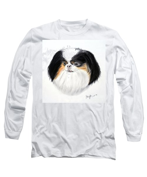 Long Sleeve T-Shirt featuring the drawing Japanese Chin Dog Portrait by Jim Fitzpatrick