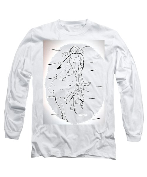 Long Sleeve T-Shirt featuring the drawing Malipenga Dance - Malawi by Gloria Ssali