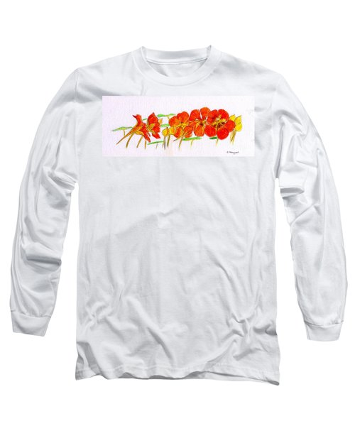 Long Sleeve T-Shirt featuring the drawing Nasturtiums by Barbara Moignard