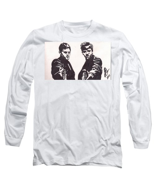 Long Sleeve T-Shirt featuring the drawing The Boondock Saints by Jeremiah Colley
