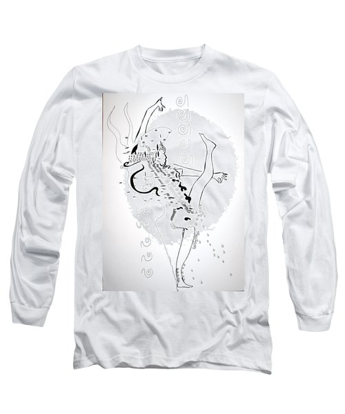 Long Sleeve T-Shirt featuring the drawing Zulu Dance - South Africa by Gloria Ssali