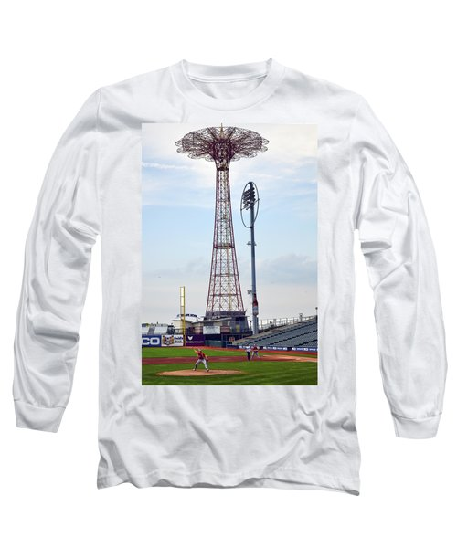 13 Year Old Pitching At Coney Island Cyclones Stadium Long Sleeve T-Shirt