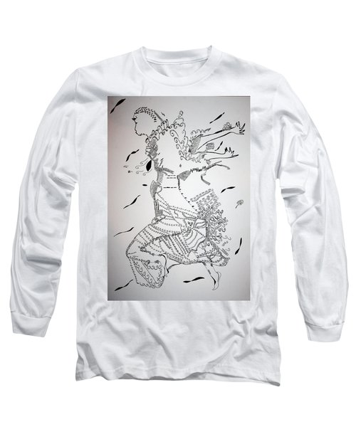 Long Sleeve T-Shirt featuring the drawing Kiganda Dance - Uganda by Gloria Ssali