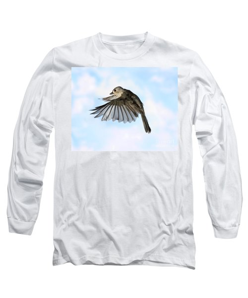 Tufted Titmouse In Flight Long Sleeve T-Shirt by Ted Kinsman