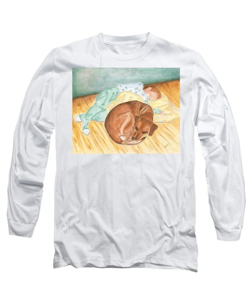 A Dog And Her Boy Long Sleeve T-Shirt by Arlene Crafton