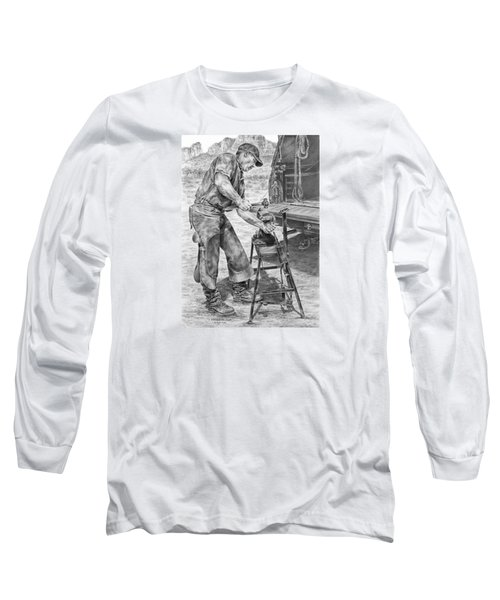 A Man And His Trade - Farrier Art Print Long Sleeve T-Shirt by Kelli Swan