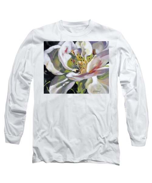 Long Sleeve T-Shirt featuring the painting A Rose By Any Other Name by Rae Andrews