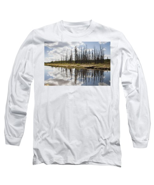 Long Sleeve T-Shirt featuring the photograph A Tranquil River With A Reflection by Susan Dykstra