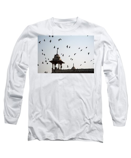Long Sleeve T-Shirt featuring the photograph A Whole Flock Of Pigeons On The Top Of The Ramparts Of The Red Fort In New Delhi by Ashish Agarwal