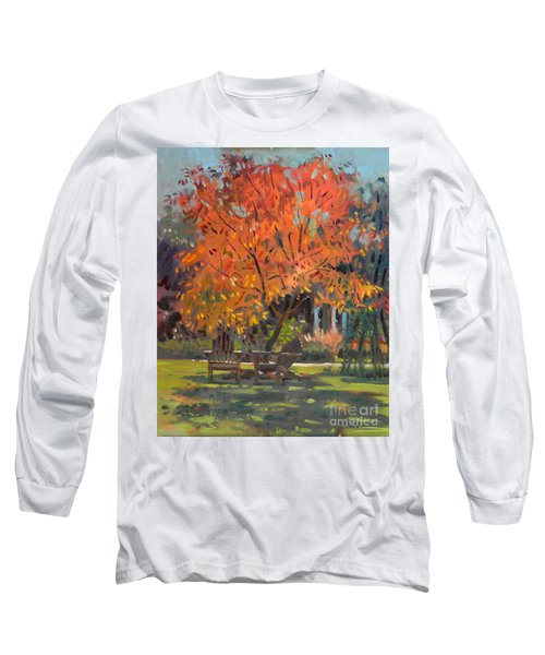 Long Sleeve T-Shirt featuring the painting Adirondack Chairs by Donald Maier