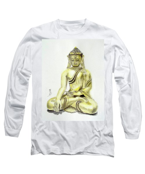 Long Sleeve T-Shirt featuring the painting An Orient Statue At Toledo Art Museum - Ohio-3 by Yoshiko Mishina