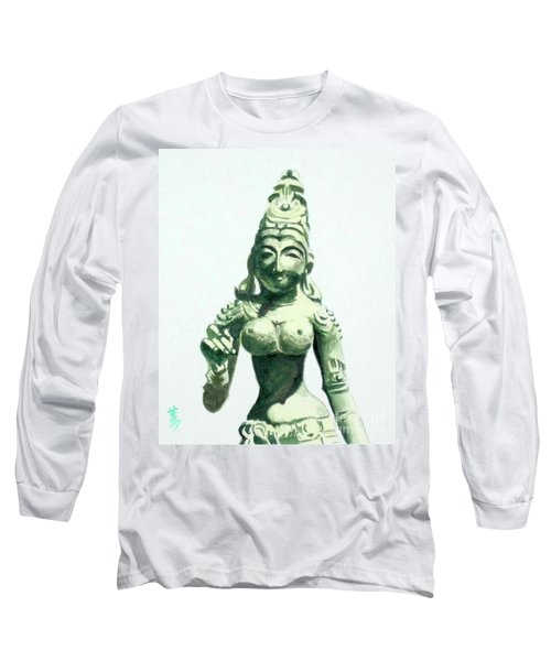 Long Sleeve T-Shirt featuring the painting An Oriental Statue At The Toledo Museum Of Art-4 by Yoshiko Mishina