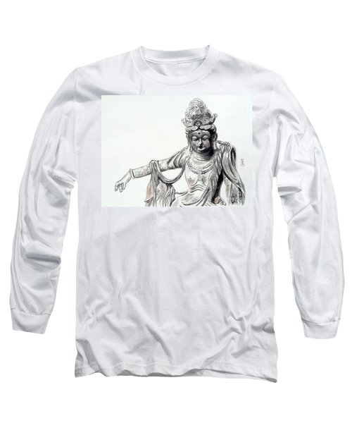 Long Sleeve T-Shirt featuring the painting An Oriental Statue At Toledo Art Museum - Ohio- 2 by Yoshiko Mishina
