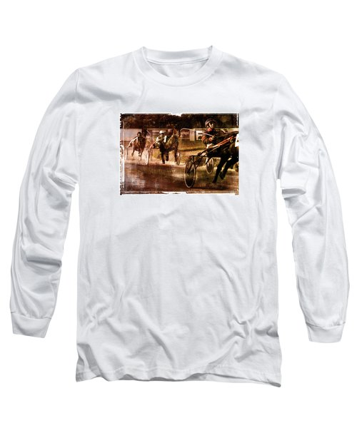 Long Sleeve T-Shirt featuring the photograph and the winner is - A vintage processed Menorca trotting race by Pedro Cardona