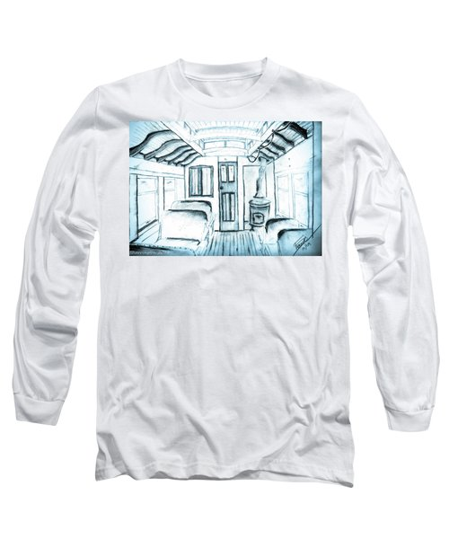 Long Sleeve T-Shirt featuring the drawing Antique Passenger Car by Shannon Harrington