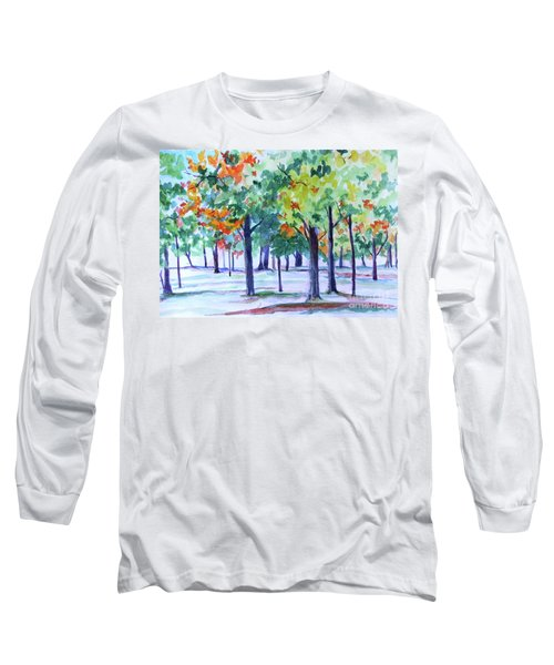 Autumn In The Park Long Sleeve T-Shirt by Jan Bennicoff