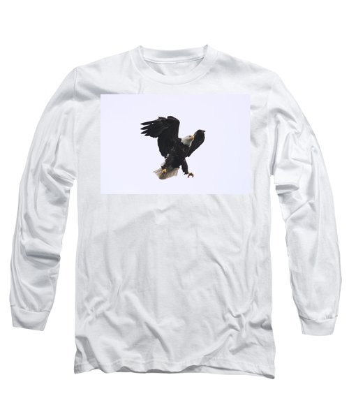 Long Sleeve T-Shirt featuring the photograph Bald Eagle Tallons Open by Kym Backland