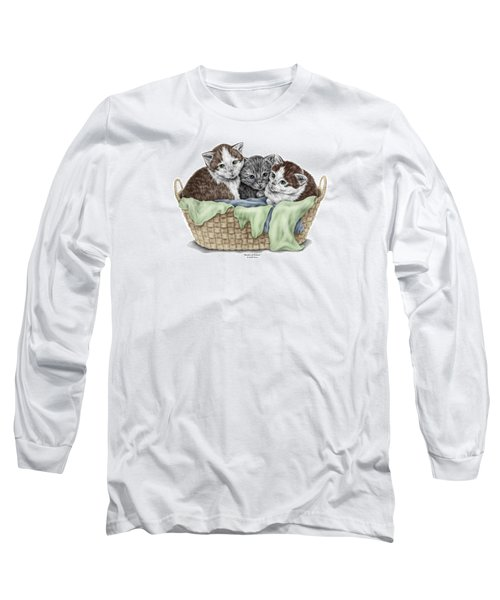 Long Sleeve T-Shirt featuring the drawing Basket Of Kittens - Cats Art Print Color Tinted by Kelli Swan