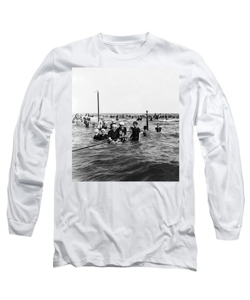 Bathing In The Gulf Of Mexico - Galveston Texas  C 1914 Long Sleeve T-Shirt