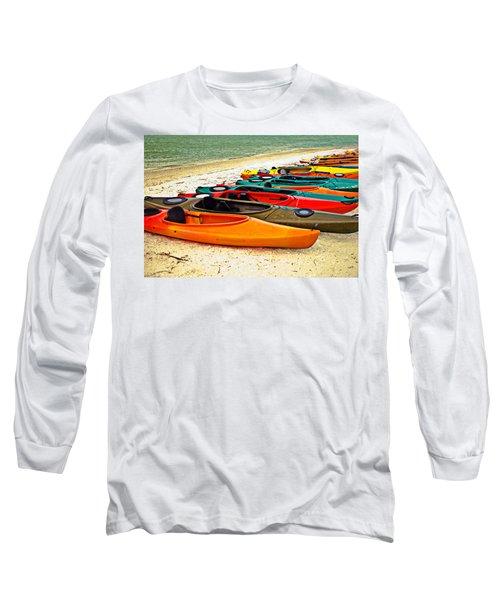 Long Sleeve T-Shirt featuring the photograph Beach Kayaks by Susan Leggett