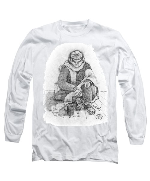 Beggar 2  In The  Winter Street Sitting On Floor Wearing Worn Out Cloths Long Sleeve T-Shirt