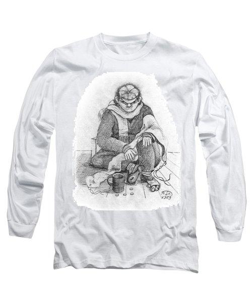 Beggar 2  In The  Winter Street Sitting On Floor Wearing Worn Out Cloths Long Sleeve T-Shirt by Rachel Hershkovitz