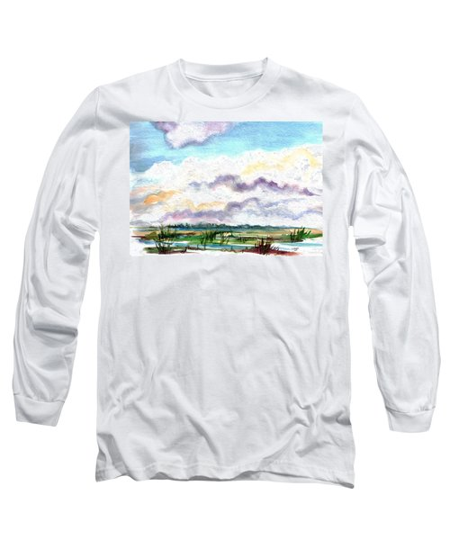 Long Sleeve T-Shirt featuring the painting Big Clouds by Clara Sue Beym