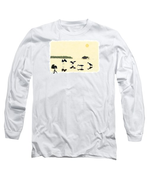 Long Sleeve T-Shirt featuring the photograph birds feeding in the Everglades by Dan Friend