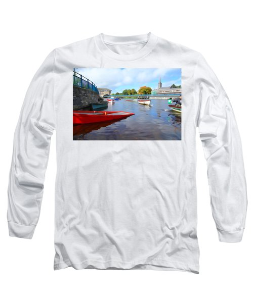 Long Sleeve T-Shirt featuring the photograph Boats On The Garavogue by Charlie and Norma Brock