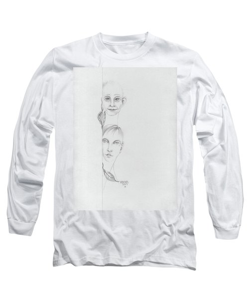 Boy And Girl Looking Over A Wall With Tree Leaves Large Eyes Straight Hair  Long Sleeve T-Shirt by Rachel Hershkovitz