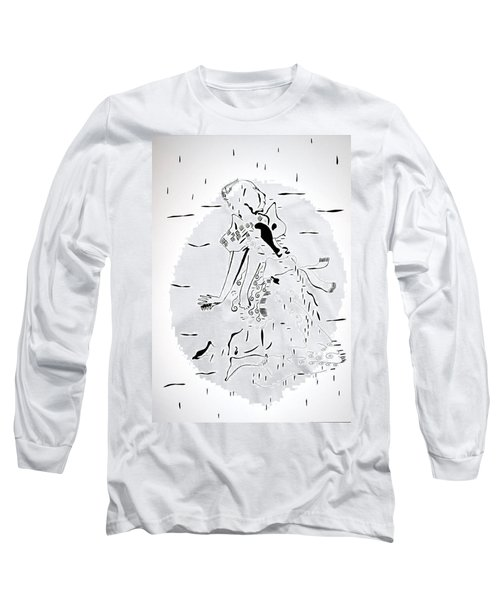 Long Sleeve T-Shirt featuring the drawing Buganda Kiganda Dance - Uganda by Gloria Ssali
